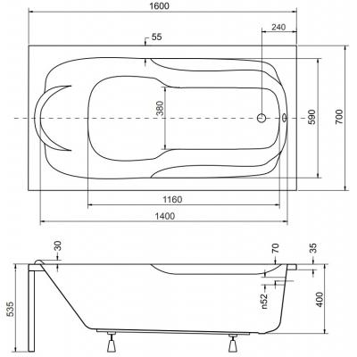 Размер ванны Besco Bona 160х70 см