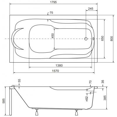 Схематичные размеры ванны Besco Bona 180х70 см