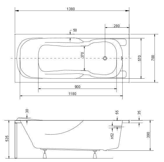 Размер ванны Besco Majka Nova 140х70 см