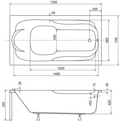 Схема с размерами ванны Besco Bona 170х70 см