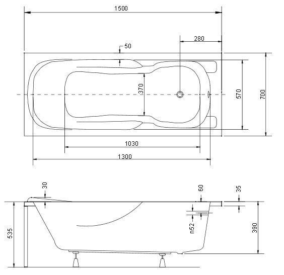 Размер ванны  Besco Majka Nova 150х70 см