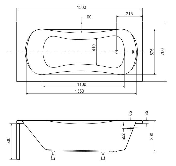 Размер ванны Aria 150х70 см