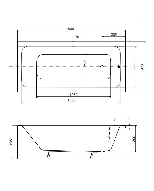 Схематические размеры ванны Modern 150х70 см