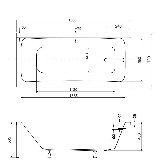 Схематически е размеры ванны  Optima 150х70 см