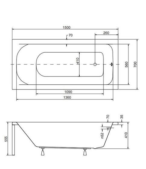 Размеры ванны Continea Besco 150х70 см