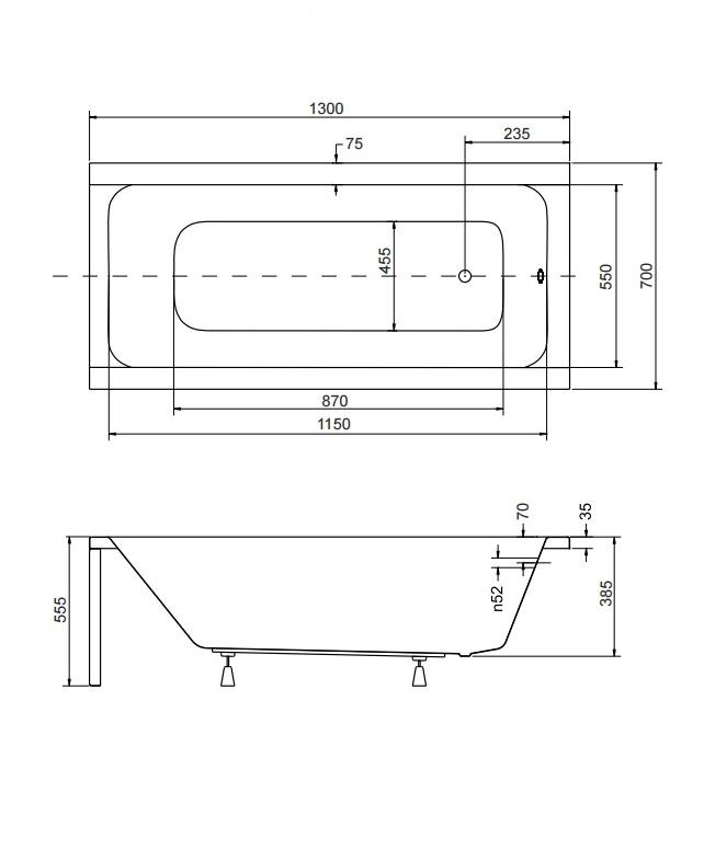 Размер ванны Modern 130х70 см