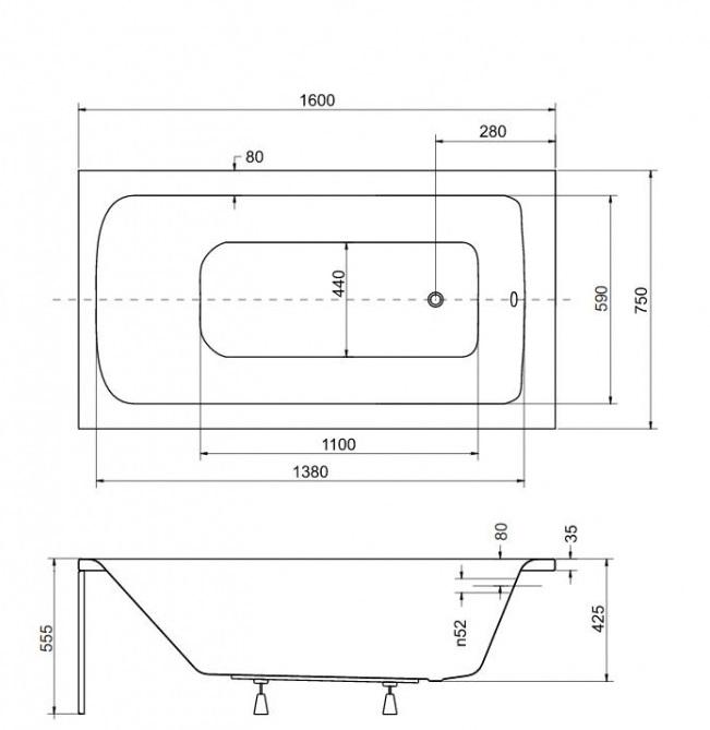 Размеры ванны Besco Talia 160х75 см
