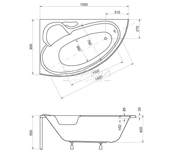 Размеры ванны Finezja Nova Besco 155