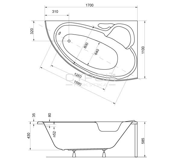 Размеры ванны Finezja Nova Besco 170
