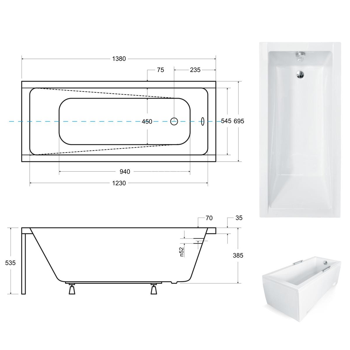 Размеры ванны Modern 140х70 см