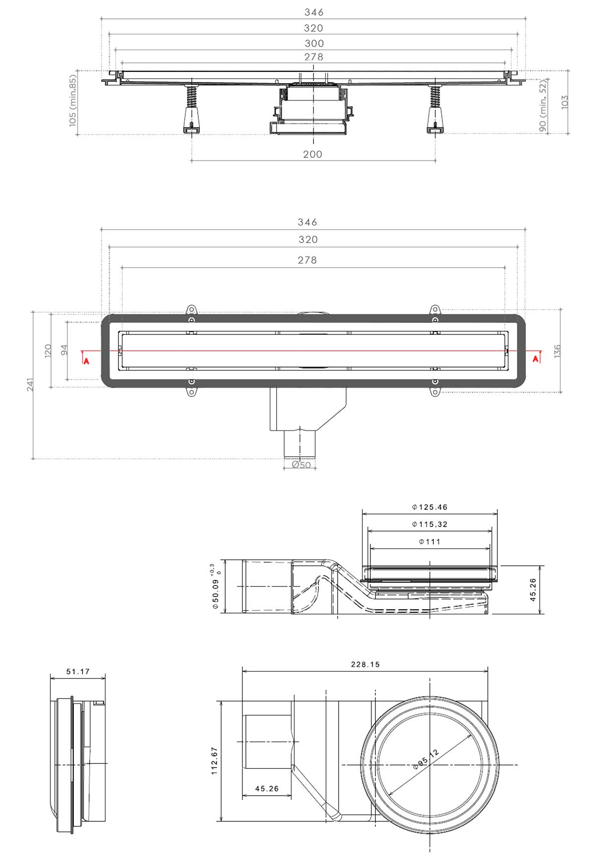 Схематические размеры линейного трапа Confluo Premium Line от PESTAN.