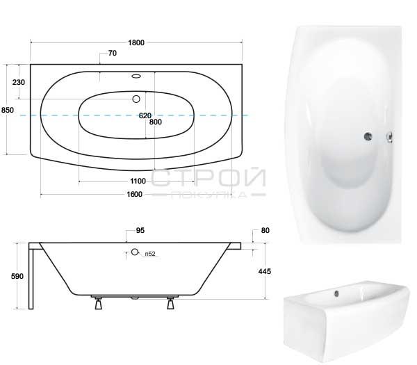 Размеры ванны  отдельностоящей пристенной Telimena  Besco 180.