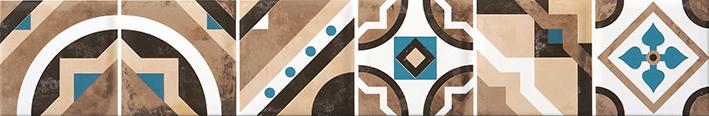 Дюна 2 тип-2 60х9,8 бордюр микс бежевого и бирюзового цветов с орнаментом