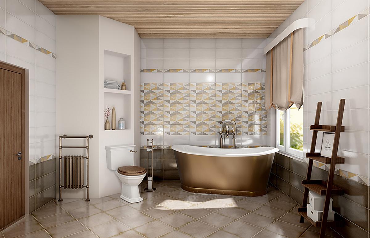 Интерьер ванной комнаты с отделкой плитки  Eclipse