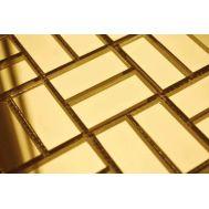 Золотая зеркальная мозаика G42-3 на сетке.