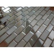 SM42‐2 Серебряная матовая мозаика на сетке.