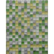Мозаичный микс желто-зеленого цвета из стекла и камня