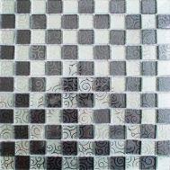 зеркальная мозаика шахматкой с орнаментом