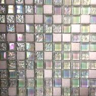 Микс из прозрачного перламутрового стекла и белого камня