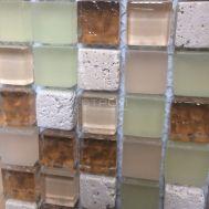 Бежевый микс мозаики GS011 из натурального камня и стекла