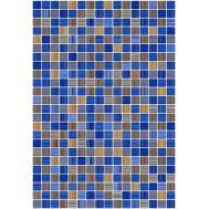 Гламур 2Т 27,5х40 настенная плитка микс синего цвета с желтым под мозаику