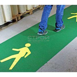 Зеленая противоскользящая лента шириной 1 метр с апликацией