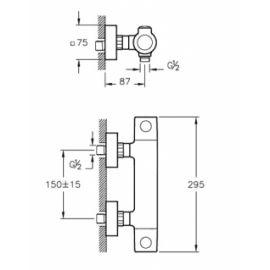 AquaHeat RS3 cмеситель для душа с термостатом схема с размерами