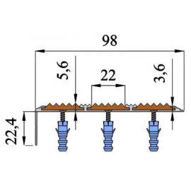 Размеры алюминиевого угла для ступеней Next АНУ98-3.