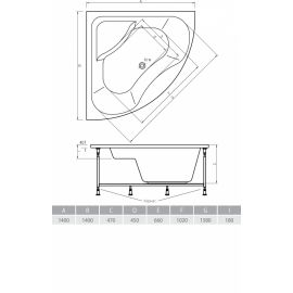 Схематические размеры угловой акриловой ванной Indiana 140 от Alpen.