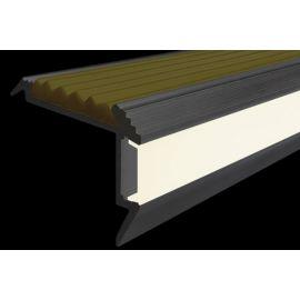 Профиль для ступеней с подсветкой и противоскользящей вставкой GlowStep45 в темноте.