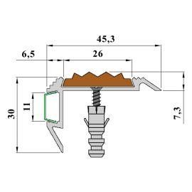 Технические размеры профиля для ступеней с подсветкой и противоскользящей вставкой GlowStep45.