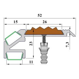 Технические размеры алюминиевого профиля для подсветки ступеней GlowStep-52.