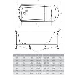 Схематические размеры ванны Alpen Diana.