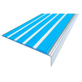Голубой противоскользящий порожек  угловой NEXT АНУ162-5 с пятью вставками.