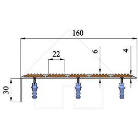 Схема с размераами противоскользящего порожка  углового NEXT АНУ162-5.