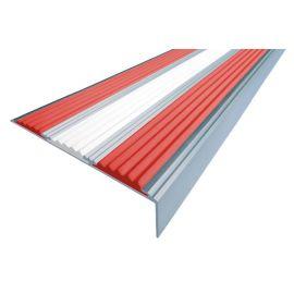 Алюминиевый угол для ступеней Next АНУ98-3 с двумя красными сигнальными и белой вставкой.
