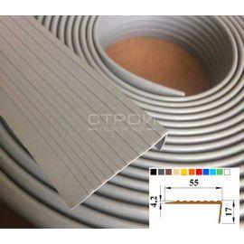 Серый резиновый порожек Next У55 против скольжения размером 12,5 м х 5,5 см в рулоне.