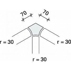 Внутренний угол радиальной планки Interbau R5 r30x7,5 №781 лазурный