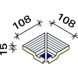 Угол внутренний из 2-х частей Interbau RP7 108x119x15 №690-788 серо-желтый RH C