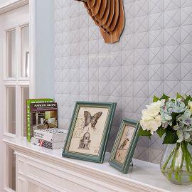 Triangolo White Glossy керамическая мозаика Homework Starmosaic в интерьере
