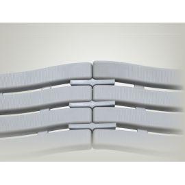 Соединение рулонного покрытия Soft Step Light grey клипсами.