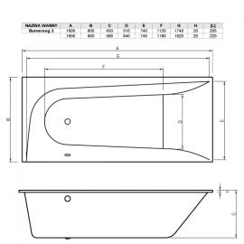 Схема прямоугольной акриловой ванной Boomerang.