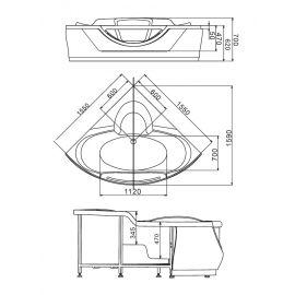 Схематические размеры Gemy G9025 II K акриловой ванны.