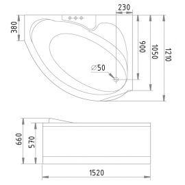 Ванна с гидромассажем Gemy G9003 B R схематические размеры.