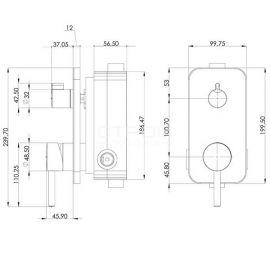 Душевой комплект Alinda AS 2201 со смесителем скрытого монтажа с 2 режимами