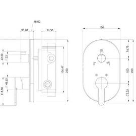 Душевой комплект Amos Teska со смесителем скрытого монтажа на 3 режима - схематические размеры