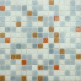 Мозаика серии Econom MIX4, 2х2 см - серый микс с оранжевыми чипами