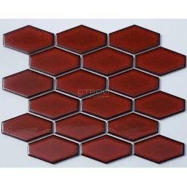 Керамическая мозаика R-310 из серии Рустик (Rustic) с бордовой глянцевой поверхностью