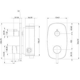 Душевой комплект Tenedos Teska со смесителем скрытого монтажа на 3 режима - схематические размеры