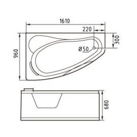 Схематические размеры ванны Gemy G9046 B L